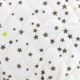 Tissu matelassé Etoiles - taupe/anis x 10cm