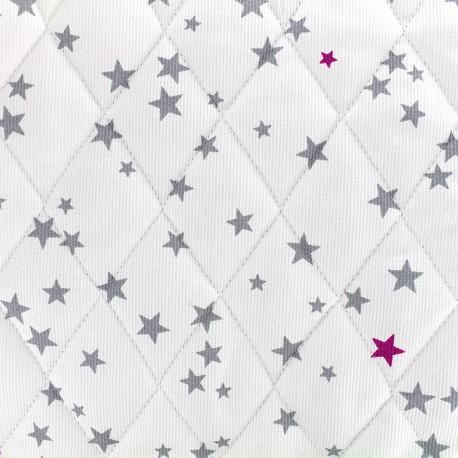 Tissu matelassé Etoiles - gris/fuchsia x 10cm