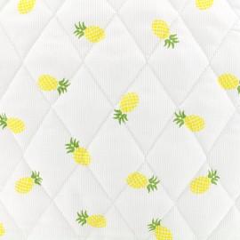 ♥ Coupon 10 cm X 150 cm ♥ Tissu matelassé Ananas - jaune