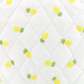 Tissu matelassé Ananas - jaune x 10cm