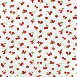 Tissu matelassé Cerise - rouge x 10cm
