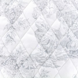 Quilted cotton fabric Toile de jouy - grey x 10cm