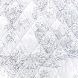 Tissu matelassé Toile de jouy - gris x 10cm