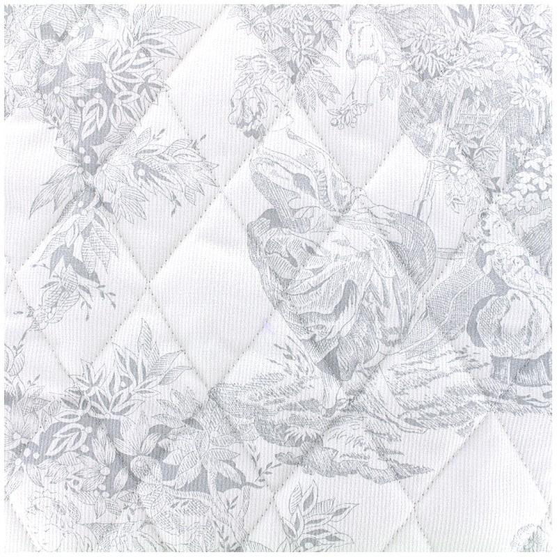tissu matelass toile de jouy gris x 10cm ma petite. Black Bedroom Furniture Sets. Home Design Ideas