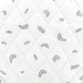 Quilted cotton fabric Plumes - grey x 10cm