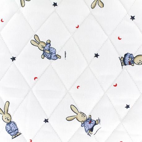 Tissu matelassé Petit lapin - bleu x 10cm