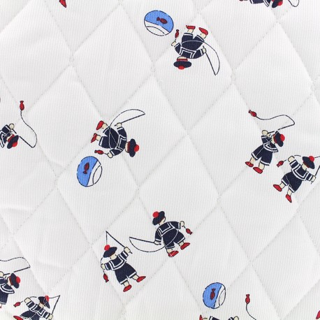 Quilted cotton fabric Petits marins - white x 10cm