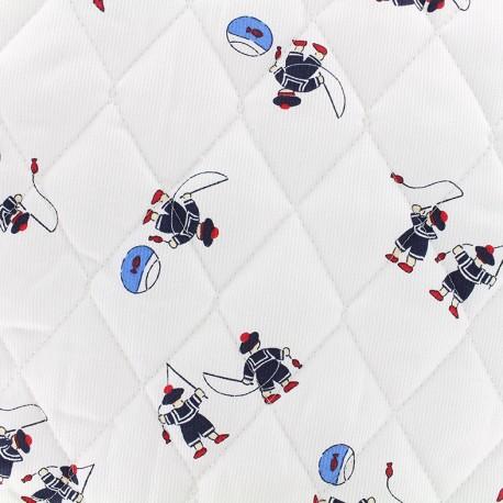 Tissu matelassé Petits marins - blanc x 10cm