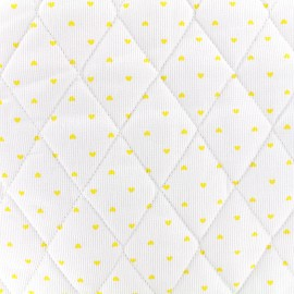 Quilted cotton fabric Petits coeurs - yellow/white x 10cm