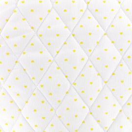 Tissu matelassé Petits coeurs - jaune/blanc x 10cm