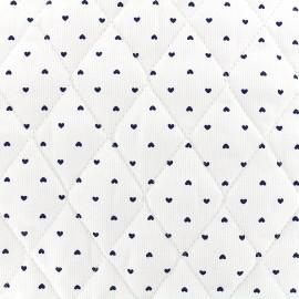 Tissu matelassé Petits coeurs - marine/blanc x 10cm