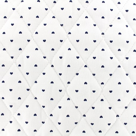 Quilted cotton fabric Petits coeurs - navy/white x 10cm