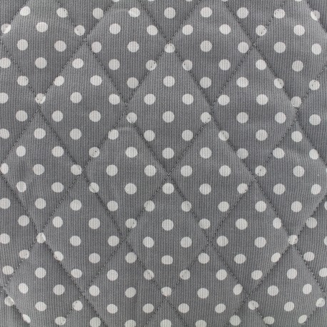 Tissu matelassé Pois - blanc/gris x 10cm