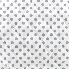 Quilted cotton fabric Pois - grey/white x 10cm