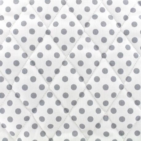 Tissu matelassé Pois - gris/blanc x 10cm