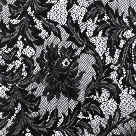 Tissu Dentelle Louise - noir x 10cm