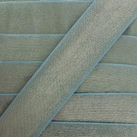 Elastique plat lurex 40mm - bleu x 1m