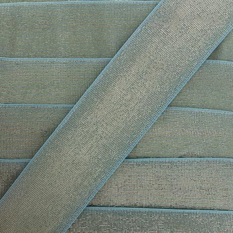 Elastique plat lurex - bleu x 1m