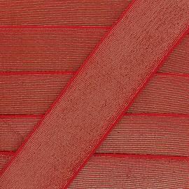 Elastique plat lurex 40mm - rouge x 1m