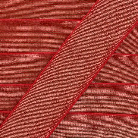 Elastique plat lurex - rouge x 1m