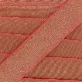 Elastique plat lurex 40mm - corail x 1m
