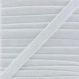 Elastique plat lurex 10mm - blanc x 1m