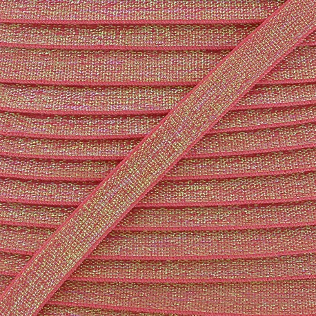Elastique plat lurex 10mm - rose x 1m
