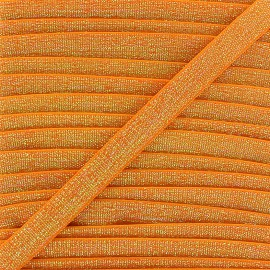 Elastique plat lurex 10mm - orange clair x 1m