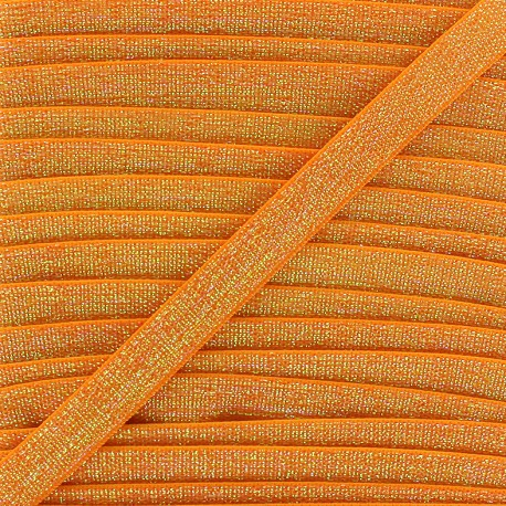 Lurex flat elastic 10mm - light orange x 1m