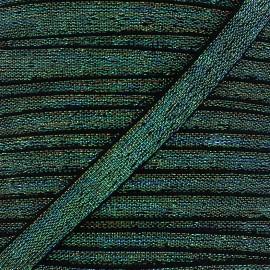 Elastique plat lurex 10mm - vert x 1m