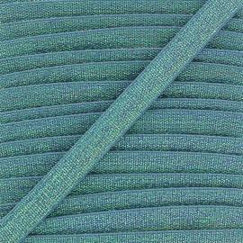 Elastique plat lurex 10mm - bleu x 1m