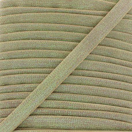 Elastique plat lurex 10mm - beige clair x 1m