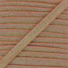 Elastique plat lurex 10mm - noisette x 1m