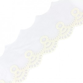 Embroidered tulle Adaya - ecru x 1m