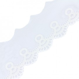 Embroidered tulle Adaya - white x 1m
