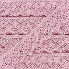 Iridescent spindled Lace ribbon 25mm - pink x 50cm