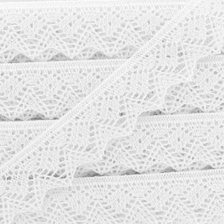 Ruban Dentelle au fuseau irisé 25mm - blanc x 50cm