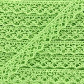 Ruban Dentelle au fuseau brillant 10mm - vert clair x 50cm