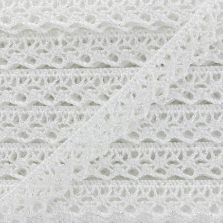 Ruban Dentelle au fuseau brillant 10mm - blanc x 50cm