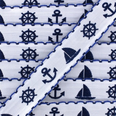 Ruban Little boat - blanc x 1m