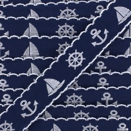 Woven Ribbon Little boat - navy x 1m