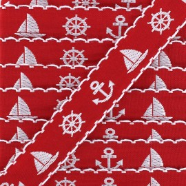 Woven Ribbon Little boat - red x 1m