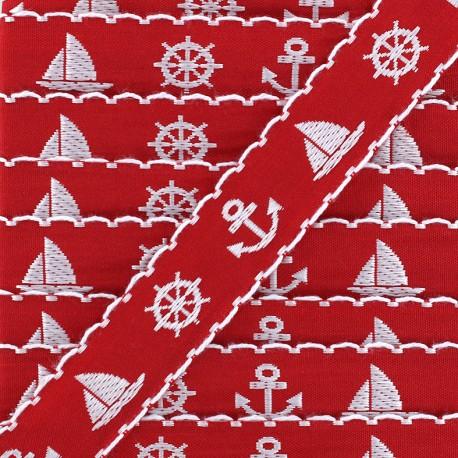 Ruban Little boat - rouge x 1m