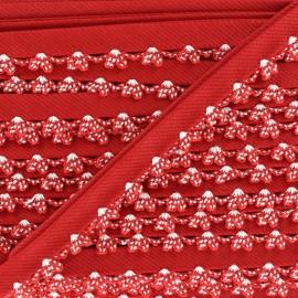 ♥ Coupon 235 cm ♥ Biais replié à bord crocheté - rouge