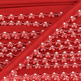 ♥ Coupon 235 cm ♥ Picked edges folded up bias tape - red
