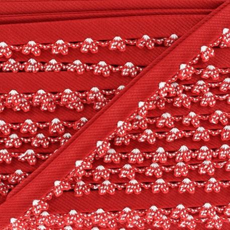 Biais replié à bord crocheté - rouge x 1m