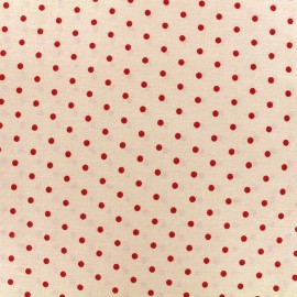 Cretonne cotton fabric Drop - red/ivory x 10cm