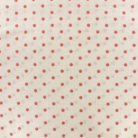 Tissu coton cretonne Drop - rose/ivoire x 10cm