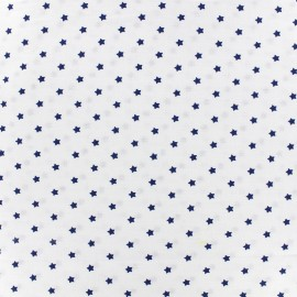 Cretonne cotton fabric Mini stars - indigo/ivory x 10cm