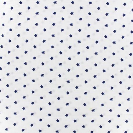 Cretonne cotton fabric Mini stars - indigo/ivory x 10cm